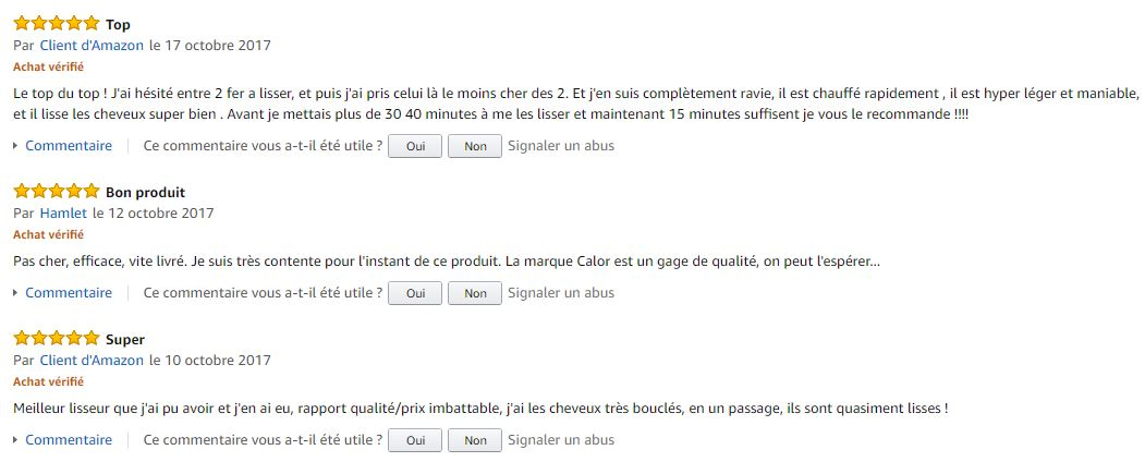 Calor_for_Elite_SF3122C0_lisseur_meilleurs_commentaires_clients_amazon